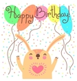 Cute happy birthday card with funny leveret vector image
