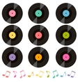 set of vinil records and music notes vector image