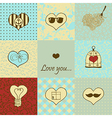 Stylish set of nine hand drawn hearts vector image