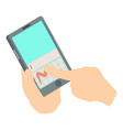 touch phone icon isometric 3d style vector image