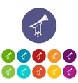 Trumpet with flag set icons vector image