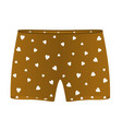 boxer shorts with white hearts vector image