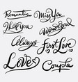 love and romantic hand written typography vector image