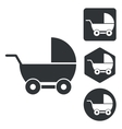 Stroller icon set monochrome vector image