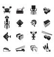 Sushi icons set Seafood black symbols vector image vector image