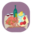 Lobster with wine lemon pomegranates still life vector image vector image