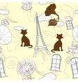 Seamless pattern with Paris and gramophones vector image