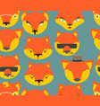 fox seamless pattern foxes ornament texture of vector image