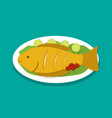 top view fish fry on white plate vector image