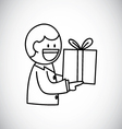worker giving gift vector image