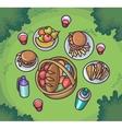 Picnic food in the meadow Flat cartoon outdoor vector image vector image