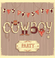 cowboy party text background vector image vector image
