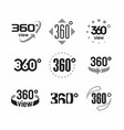 360 degrees view sign icons set vector image
