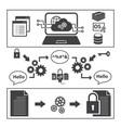 big data icons set encoding and decoding concept vector image