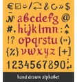 Hand drawn alphabet and letters numbers brush vector image