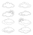labels clouds and sun contours vector image