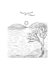 landscape with tree on a hilly sea shore vector image
