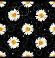 seamless chamomile pattern with doodles vector image