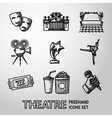 Set of freehand Theatre icons - masks theater vector image