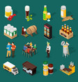 beer isometric icons set vector image