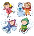 Winter kids vector image