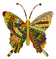 Patchwork fabric with butterfly vector image vector image