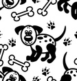 Seamless cute cartoon dog pattern vector image