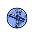 Power Lineman Repairman Climb Pole Retro Circle vector image