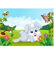 Cartoon cute bunny in the jungle vector image