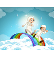 Muslim couple running over the rainbow vector image vector image