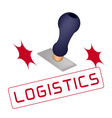 A Rubber Stamp With A Word Logistics vector image