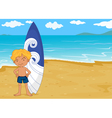 Boy with surf board vector image