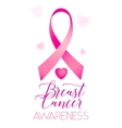 Breast cancer ribbons and heart awareness vertical vector image