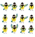Flat icons of titmouse set vector image