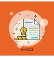 Invoice and dollar coins Budget planning money vector image