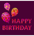 Original Watercolor mosaic Happy Birthday Greeting vector image