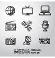 Set of handdrawn media icons - news radio tv vector image