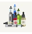 Vape device set Vaping juice for vape Vape trend vector image