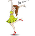 Woman jumping happily rejoice vector image