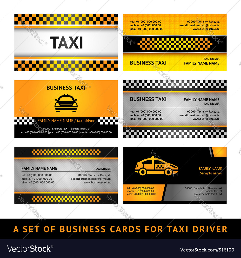 Business card taxi  fourth set vector