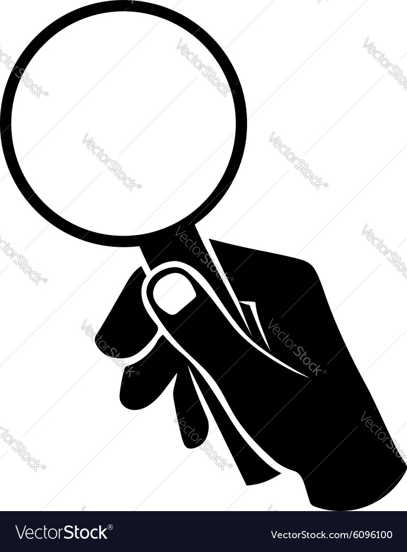 Hand with loupe vector