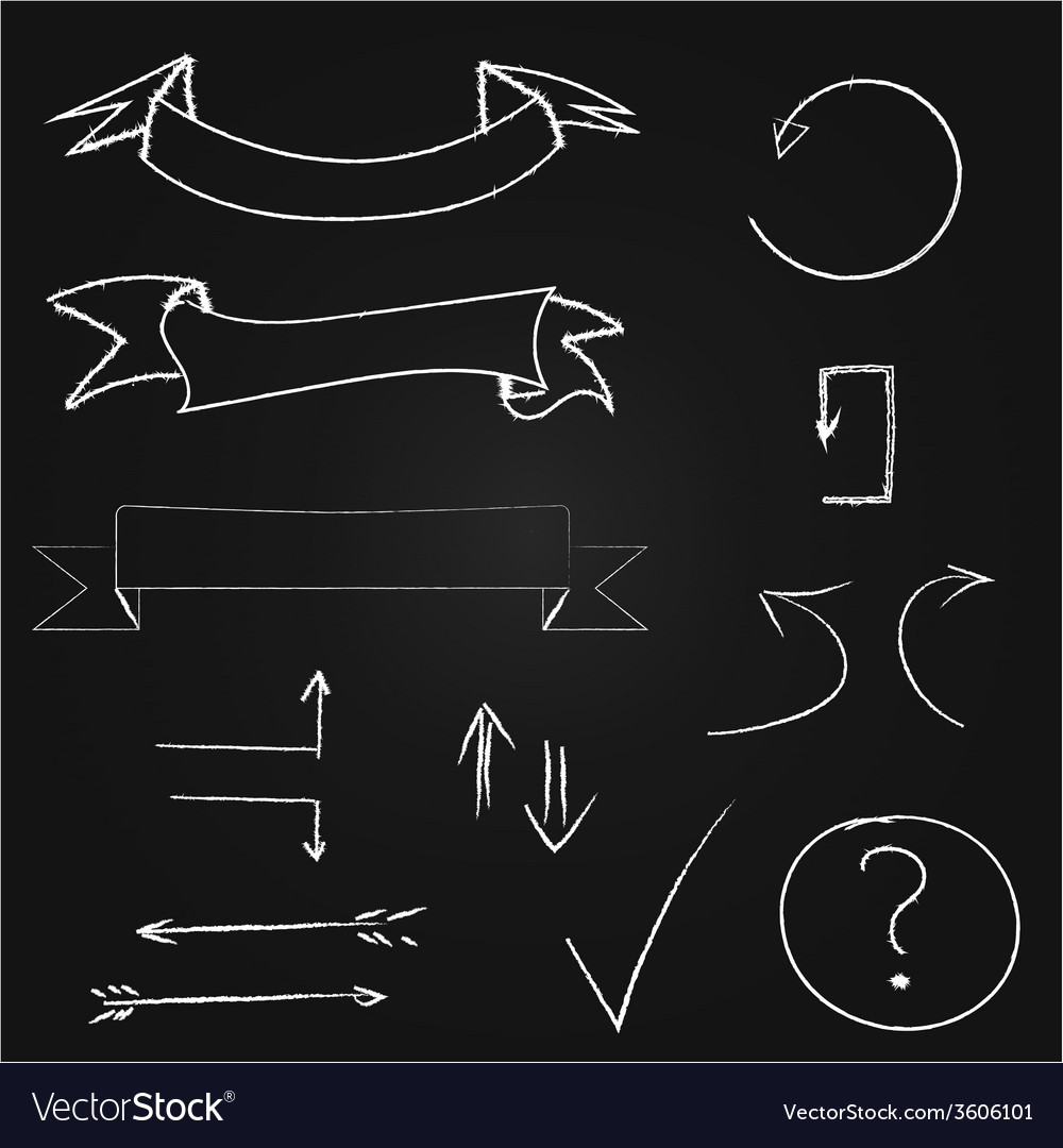 Arrows and banners set hand drawn chalk on vector