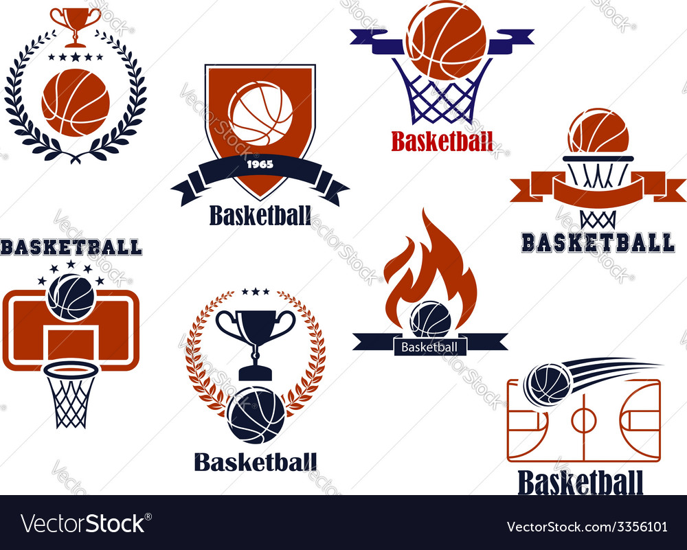 Basketball tournament and emblem designs vector