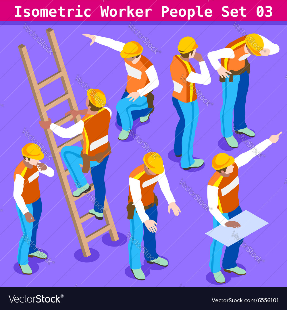 Construction 03 people isometric vector