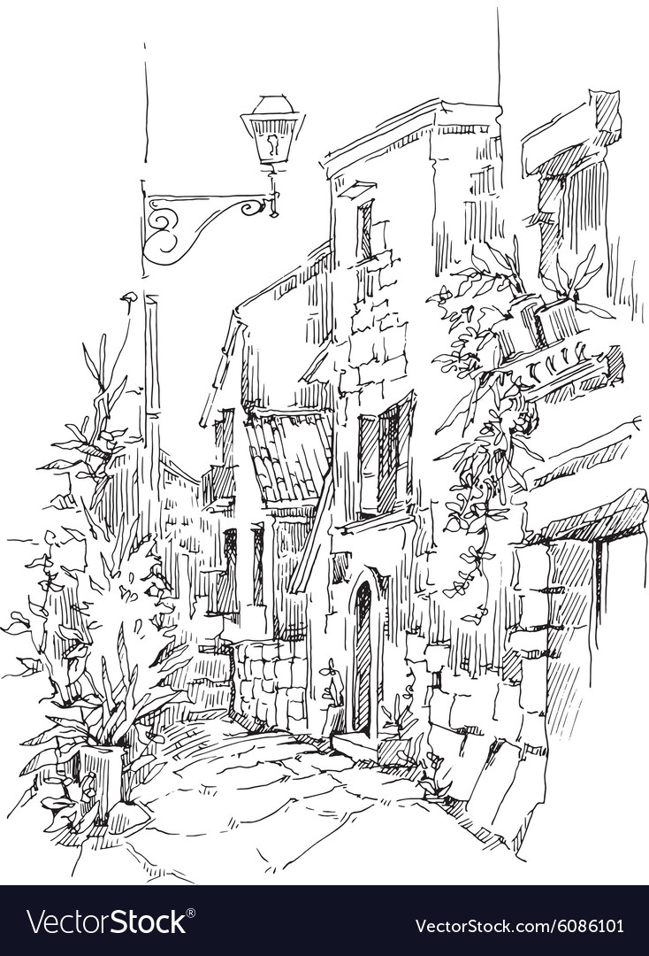 Hand made sketch of old street vector