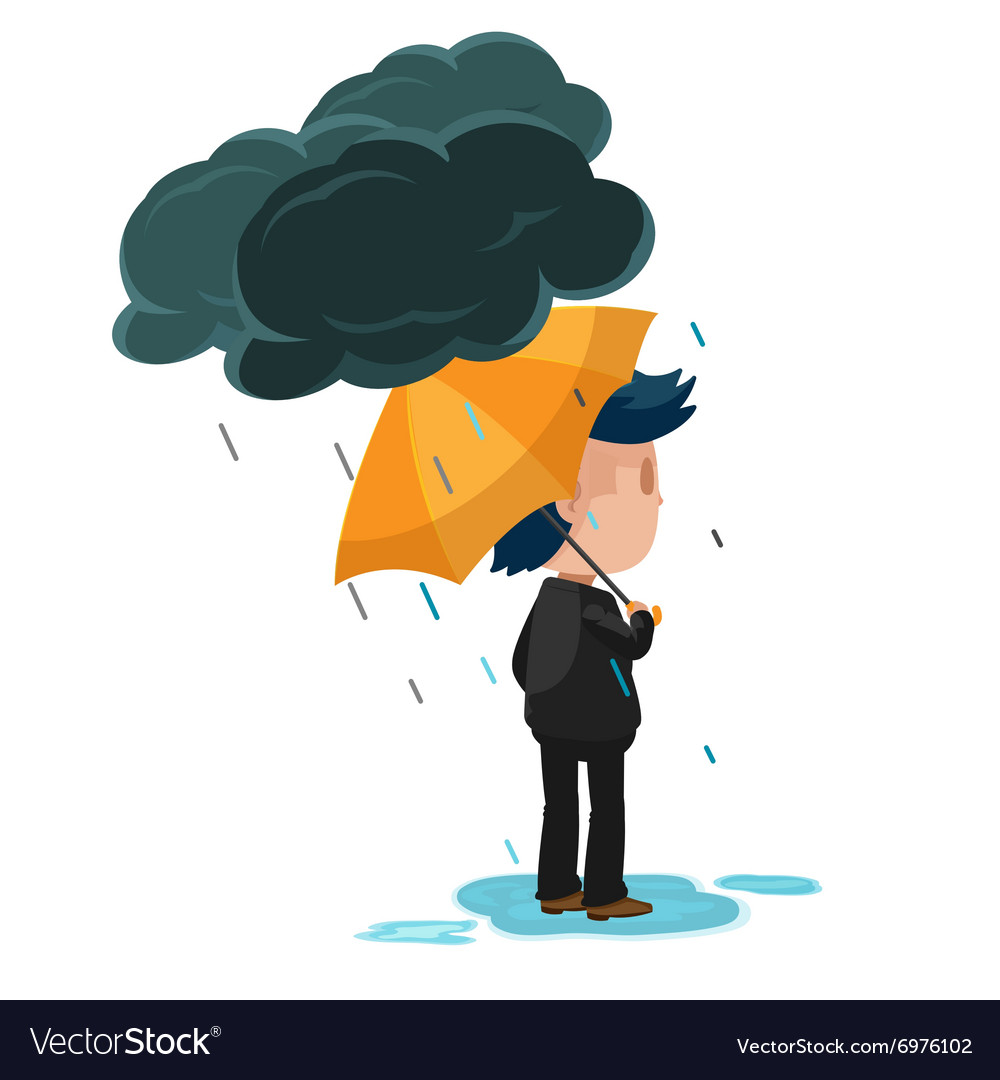 Man stand look forward rain vector