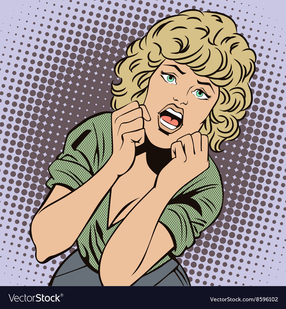 People in retro style popart girl screams in fear vector