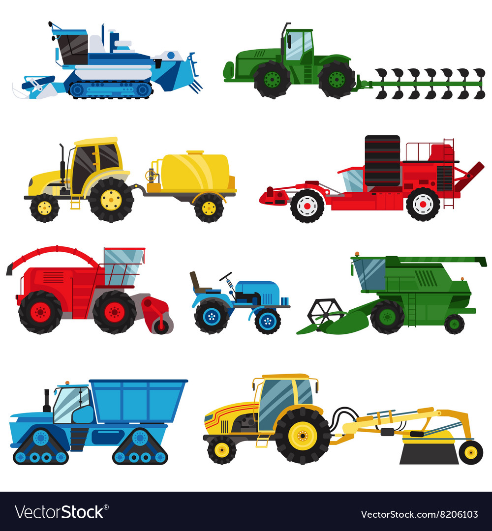 Equipment farm for agriculture machinery combine vector