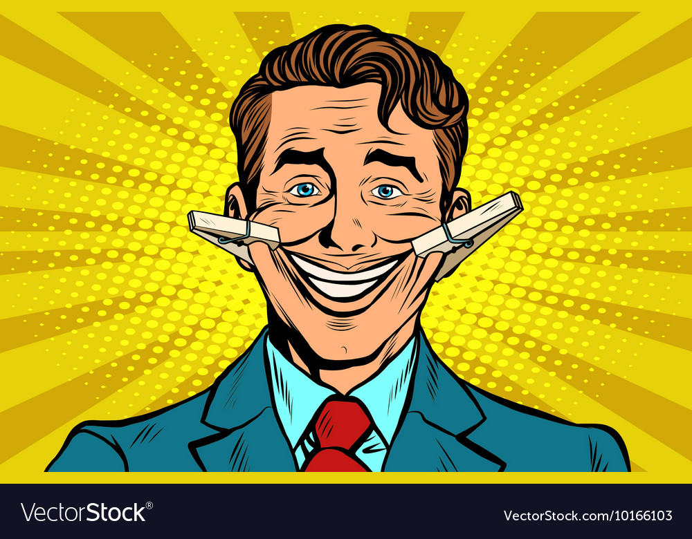 False smile face with clothespins vector