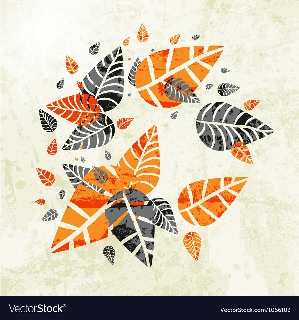 Floral autumn leaves background vector